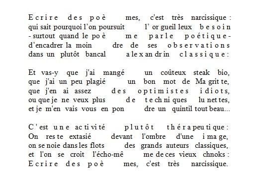 Ecrire Des Poèmes Cest Très Narcissique U Poesis