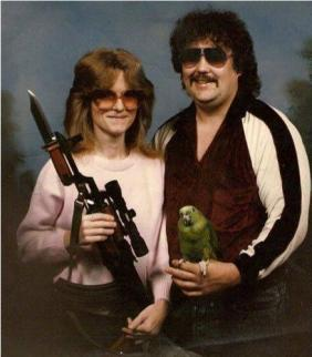 Redneck Couple With Bayonet Rifle and Parrot